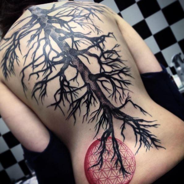 Tree Full Back Tattoos Design For Men