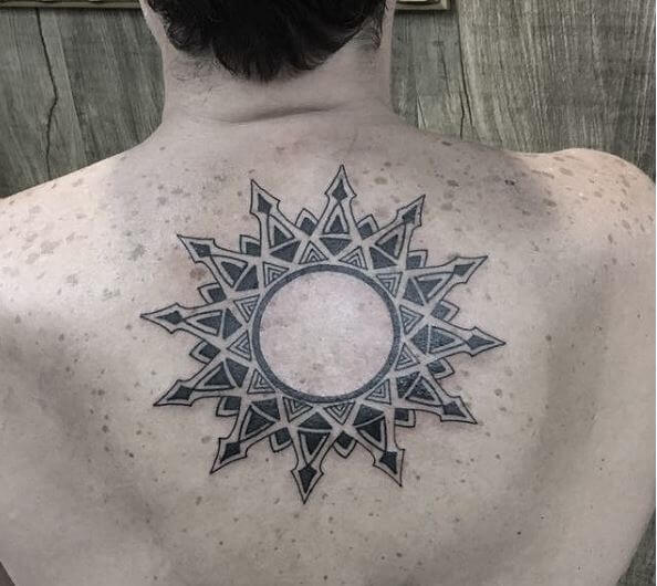 Tribal Sun Tattoos Design On Backside