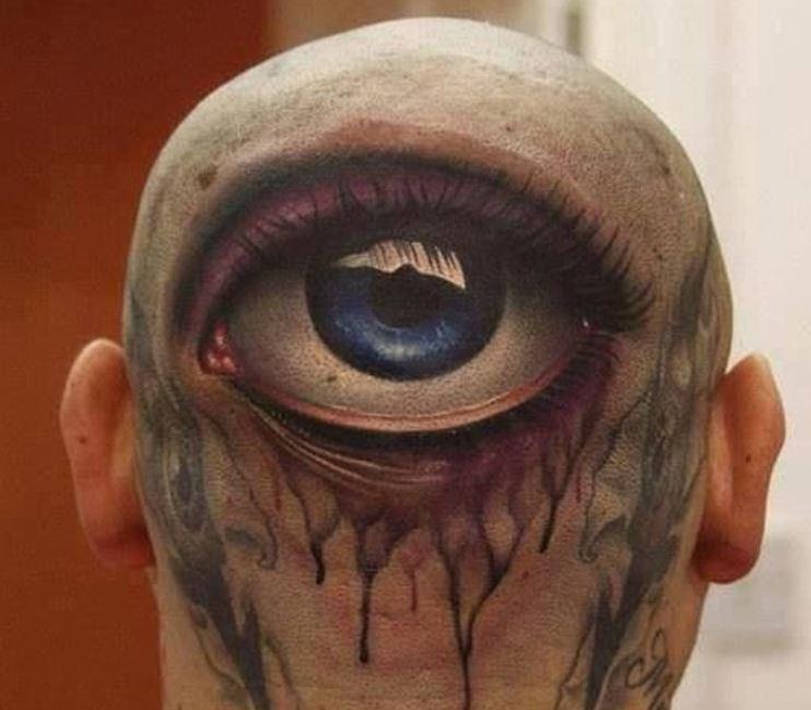 Very Bad 3D Tattoo Design On Head