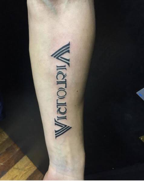 Victoria Ambigram Tattoos Design On Hands