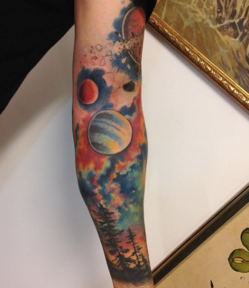 Water Color Planet Tattoos Design And Ideas