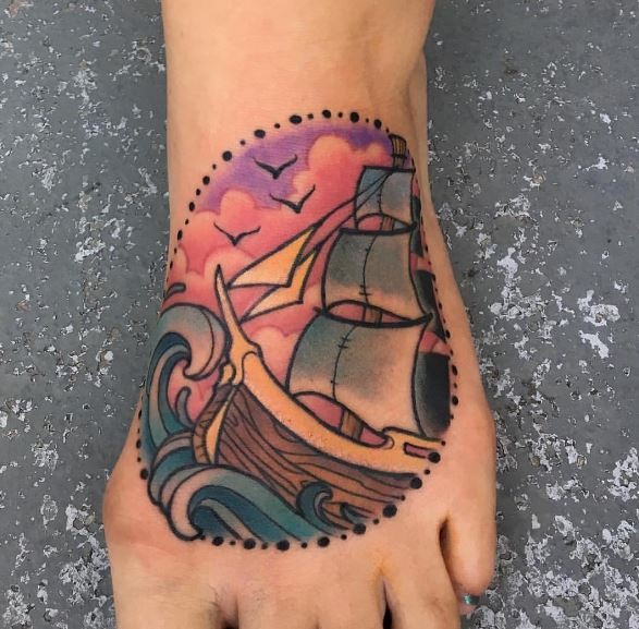 Water Color Ship Tattoos Design And Ideas