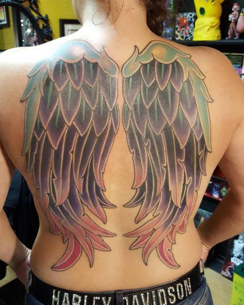 Wing Full Back Tattoos Design