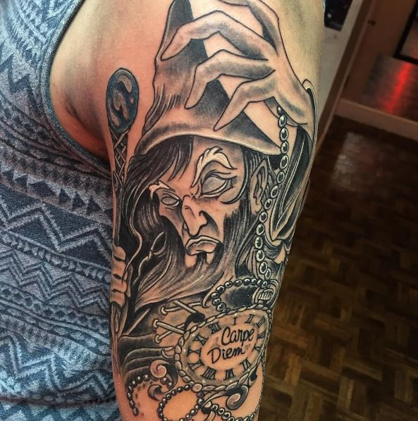 Wizard And Pocket Watch Tattoos Design On Arms