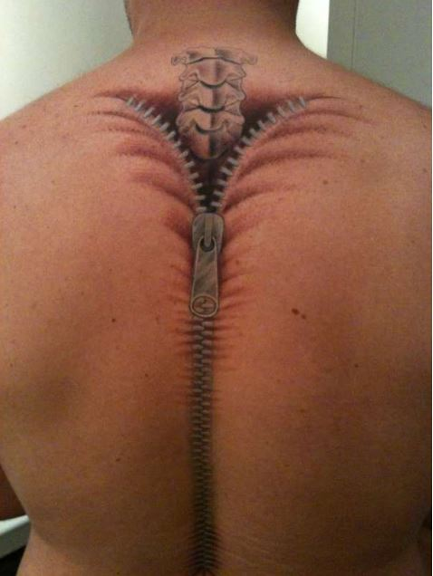 Zip Spine Tattoos Design Back For Men