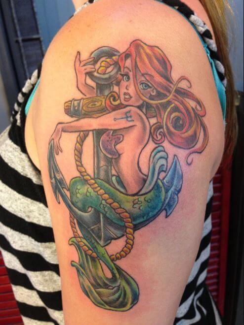 Anchor And Mermaid Tattoos