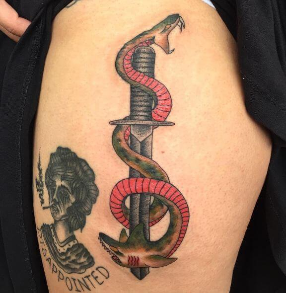 Beautiful Snake And Dagger Tattoos