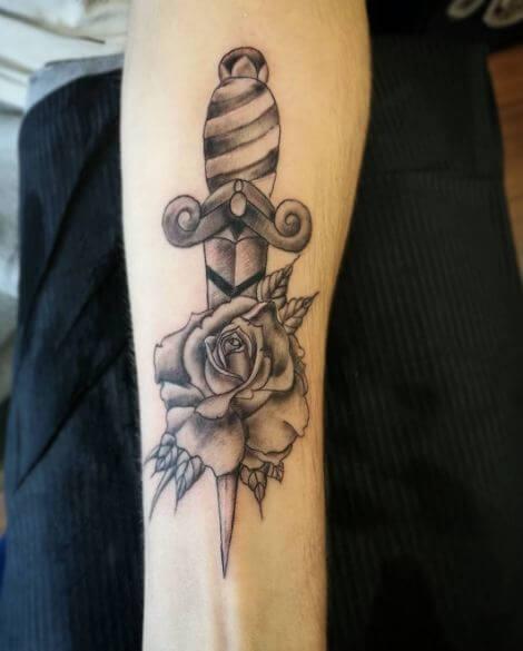Black And Grey Dagger Tattoos