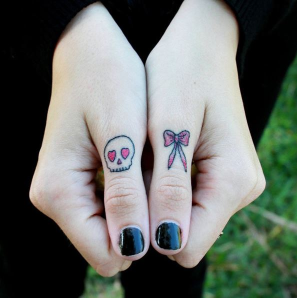 Bow Tattoos On Finger
