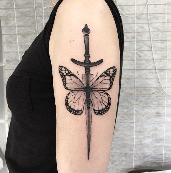 Butterfly With Dagger Tattoos