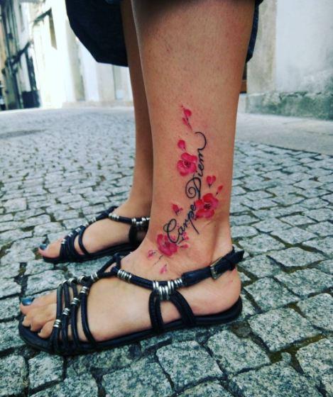 Carpe Diem Tattoos On Ankle