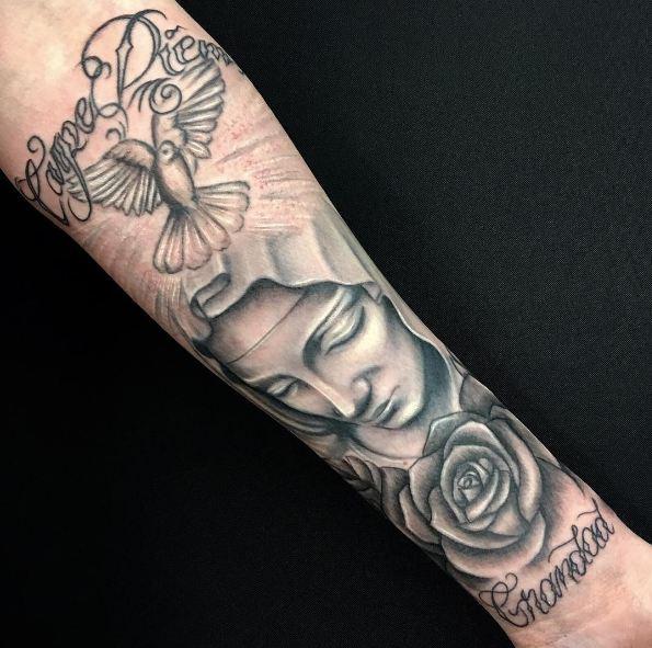 Carpe Diem Tattoos On Full Sleeve