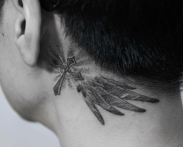 Cross Tattoos Behind Ear