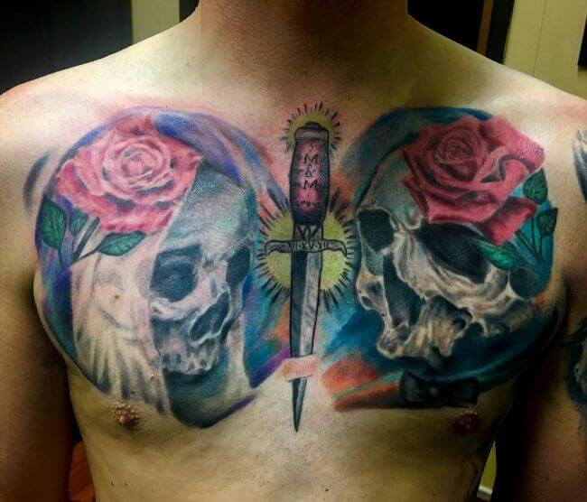 Dagger Tattoos On Chest