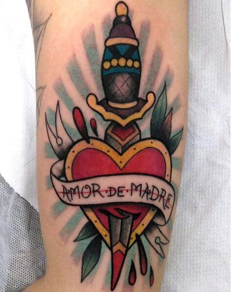 Dagger Tattoos On Leg