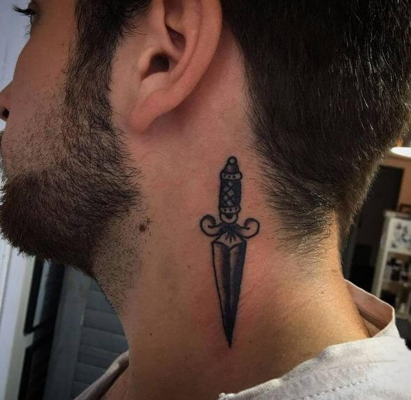 Dagger Tattoos On Neck