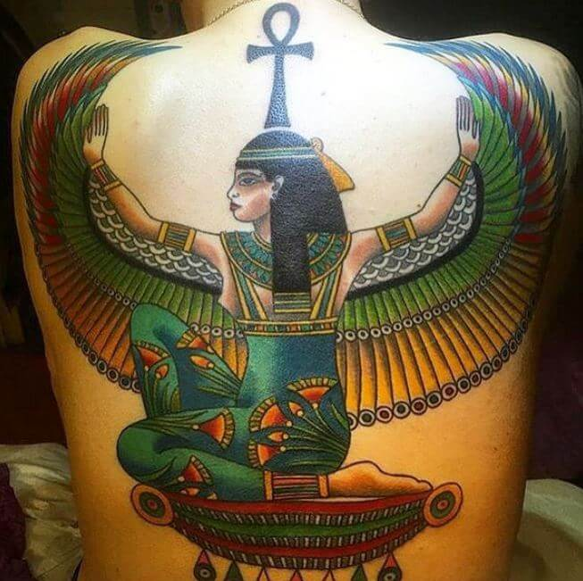 Egyptian Wings Tattoos On Back