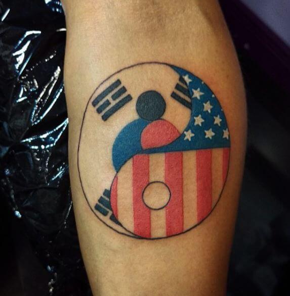 Flag Yin Yang Tattoos