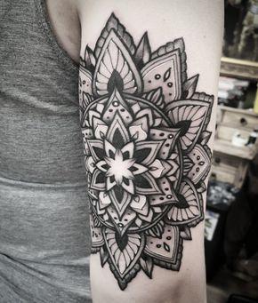 Geometric Flower Tattoo Designs (8)