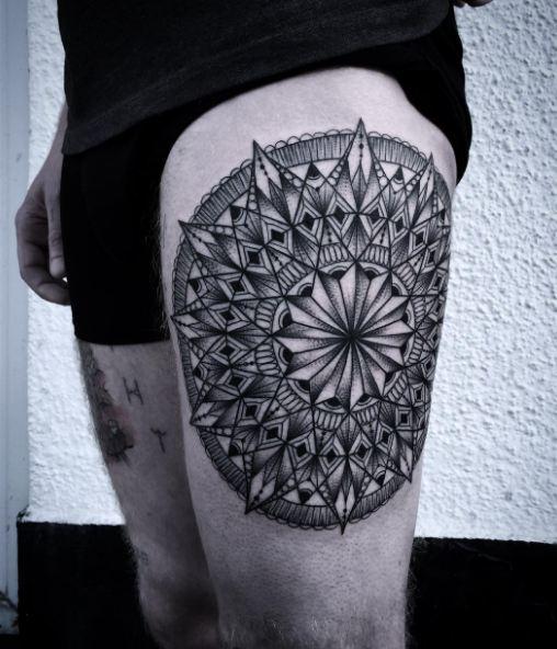 Geometric Thigh Tattoos
