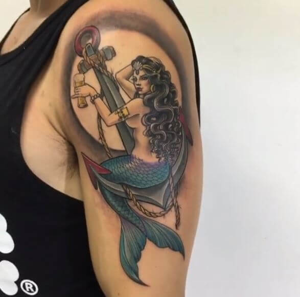 Mermaid Anchor Tattoos