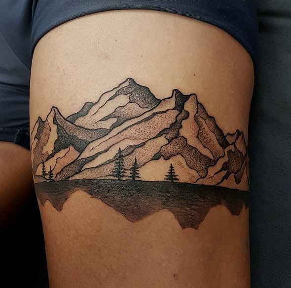 Mountain Thigh Tattoos