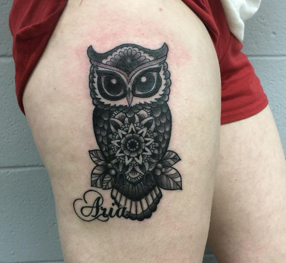 Owl Thigh Tattoos