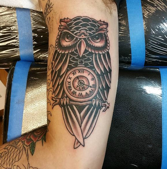 Owl With Clock Bicep Tattoos