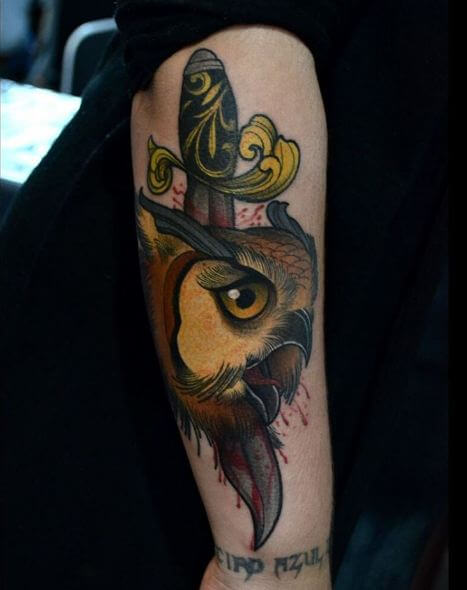 Owl With Dagger Tattoos