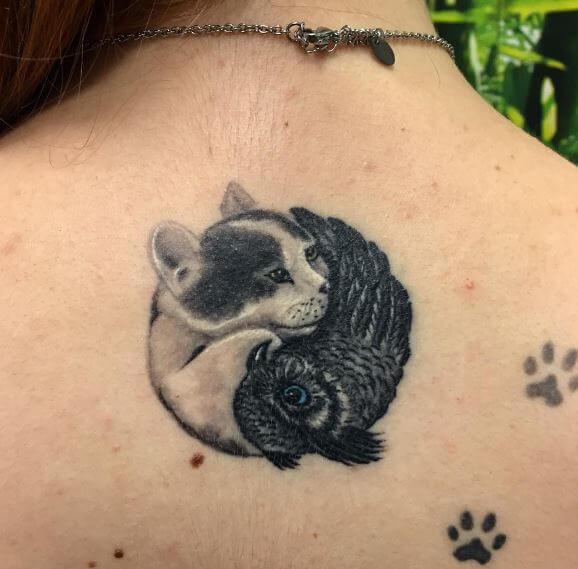 Paw With Yin Yang Tattoos