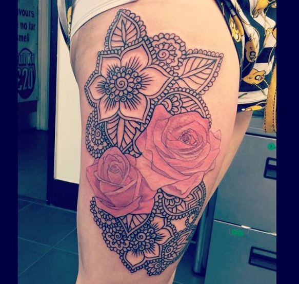 Roses On Thigh Tattoos