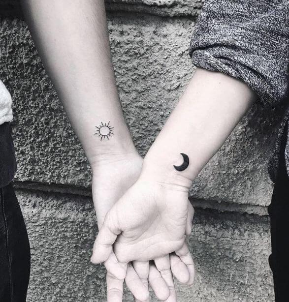 Simple Sun And Moon Tattoos