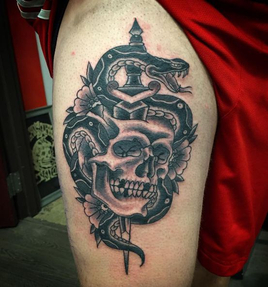 Skull Thigh Tattoos