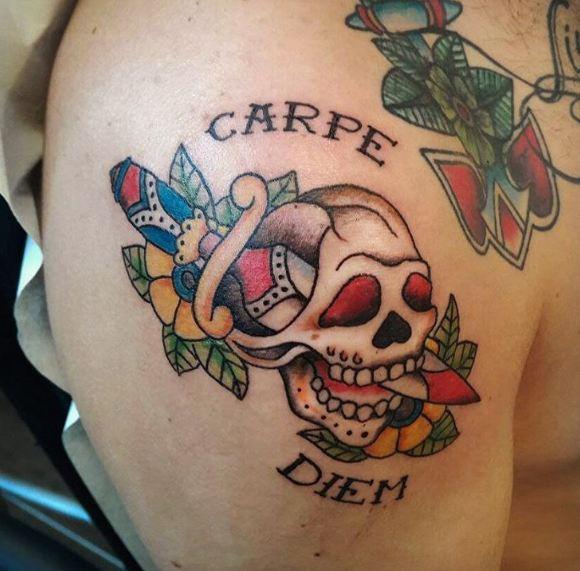 Skull With Carpe Diem Tattoos