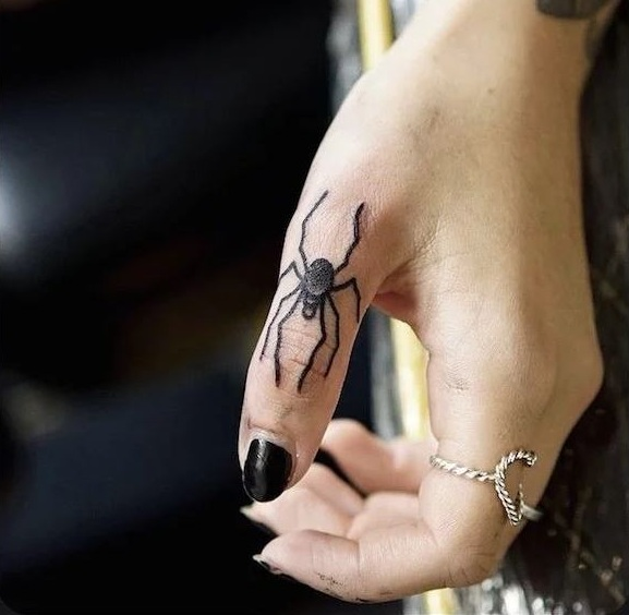 Spider Tattoos On Finger