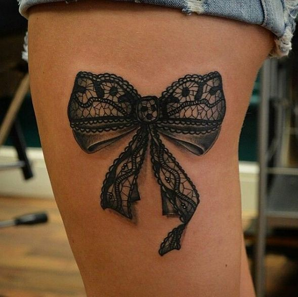 Thigh Bow Tattoos