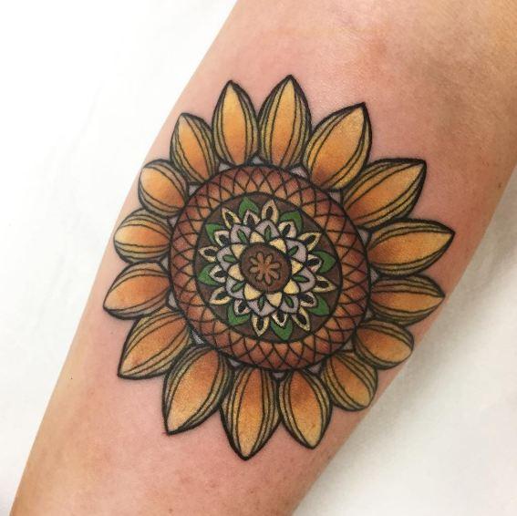 Traditional Geometric Flower Tattoos