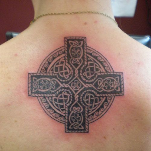 Upper Back Cross Tattoos (8)