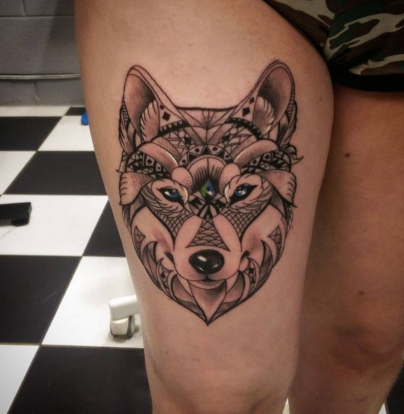 Wolf Thigh Tattoos