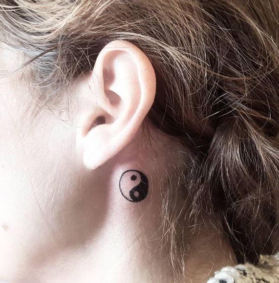 Yin Yang Tattoo On Behind Ear