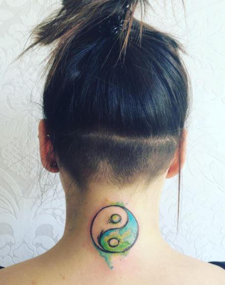 Yin Yang Tattoos On Neck Back