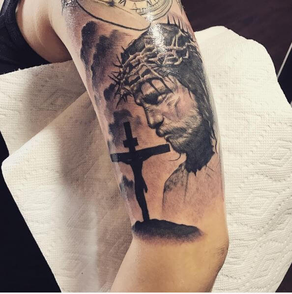 3D Jesus Tattoos Design On Biceps