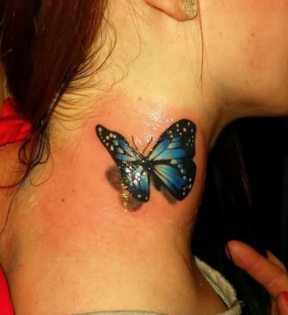 3D Colourful Realistic Butterfly Tattoo On Neck