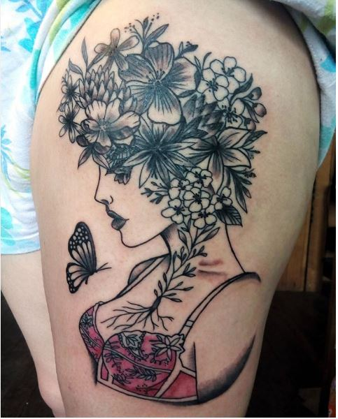 Amazing Floral Tattoo Design With Girls