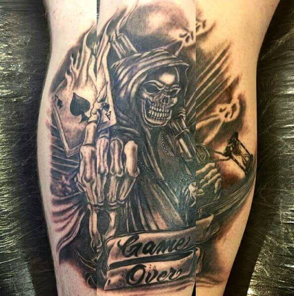 Amazing Grim Reaper Tattoos Design On Calf