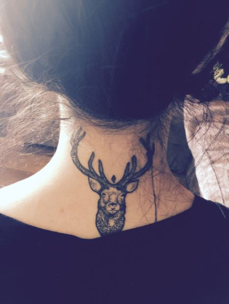 Amazing Deer Neck Tattoo For Women