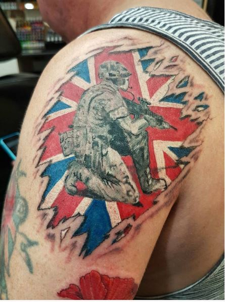 Army Tattoos Design On Shoulder For Guys