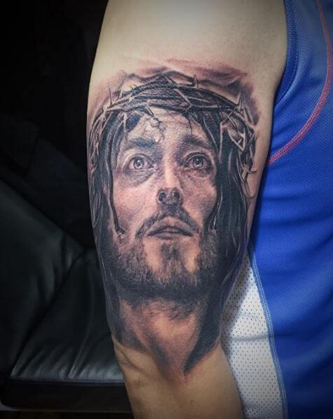 Awesome Jesus Chest Tattoos Design