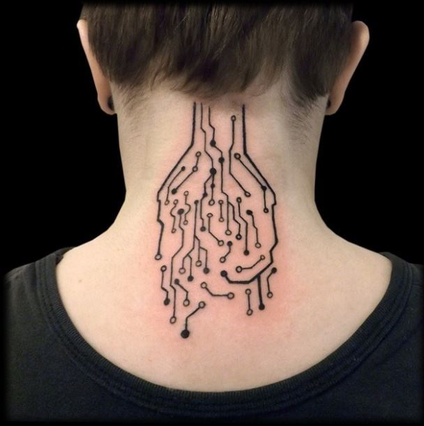Awesome Black Ink Neck Tattoo Of Electronic Schema