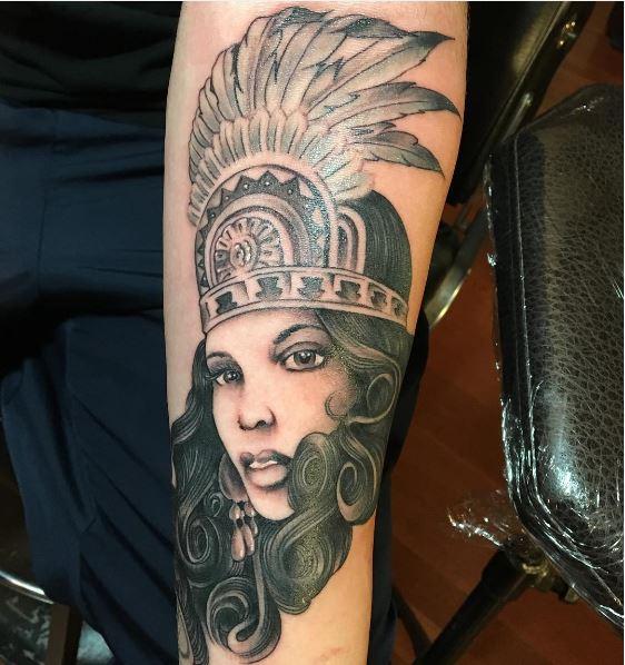 Aztec Girl Tattoos Design On Hands